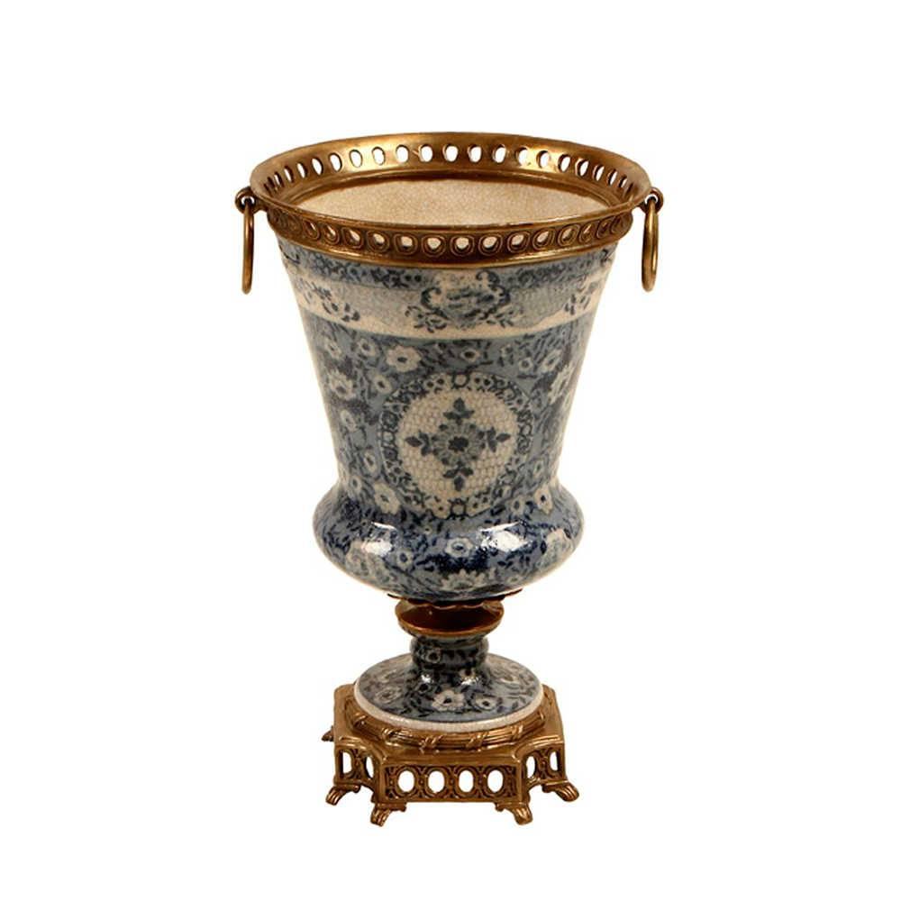 Vaso Floral Antigo Azul em Porcelana com Bronze - 31x19 cm