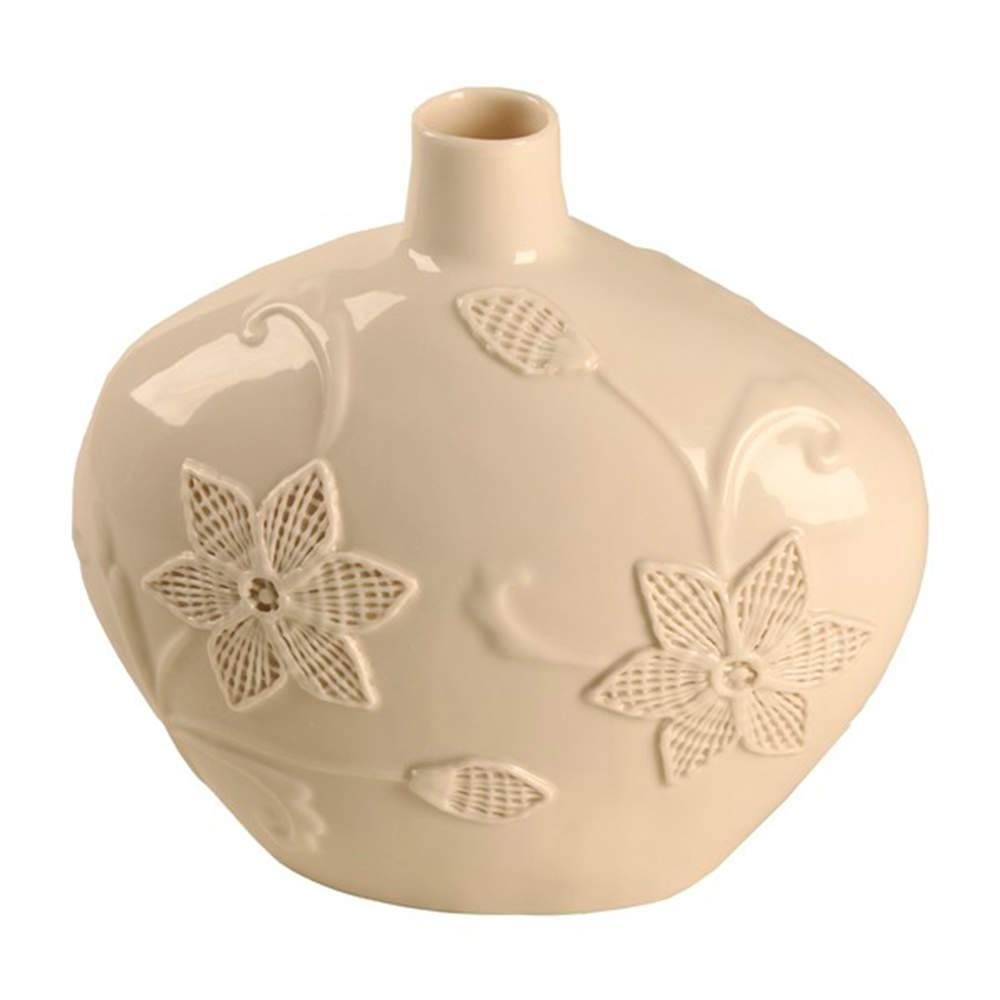 Vaso Flores Branco com Detalhes em Alto Relevo em Porcelana - 27x25 cm