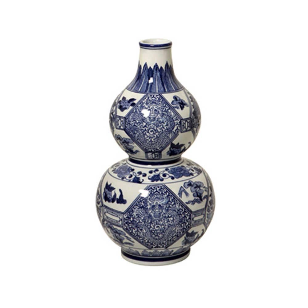 Vaso Flores Orientais Azul com Branco em Porcelana - 35x20 cm