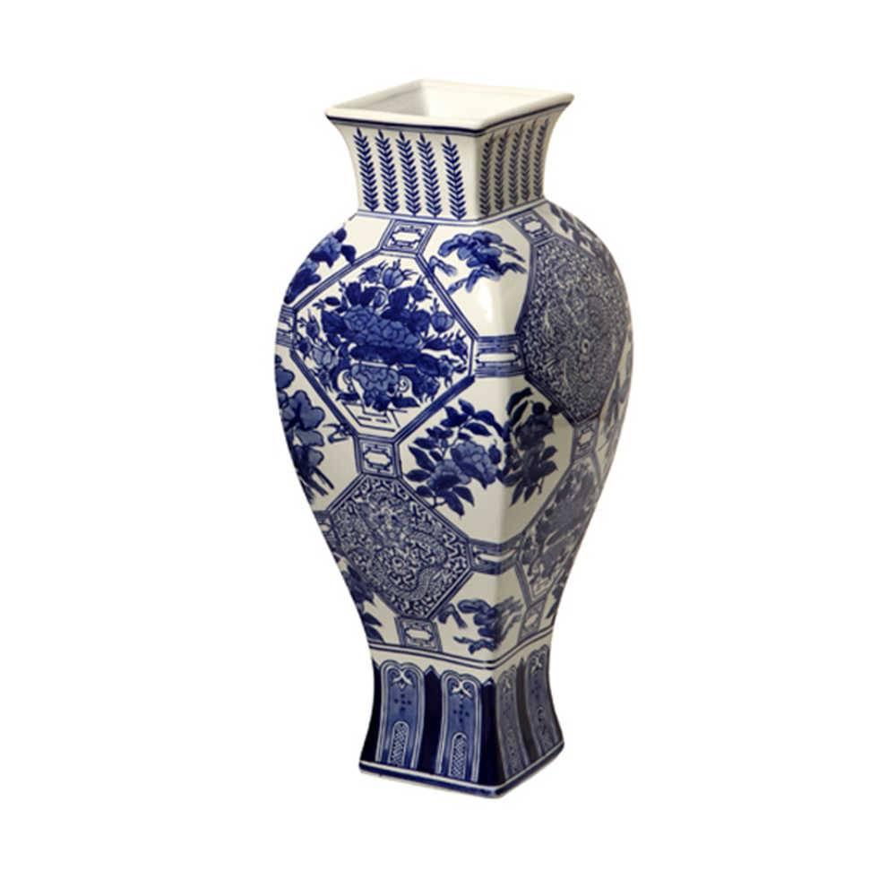 Vaso Flores Orientais Azul com Branco em Porcelana - 44x17 cm