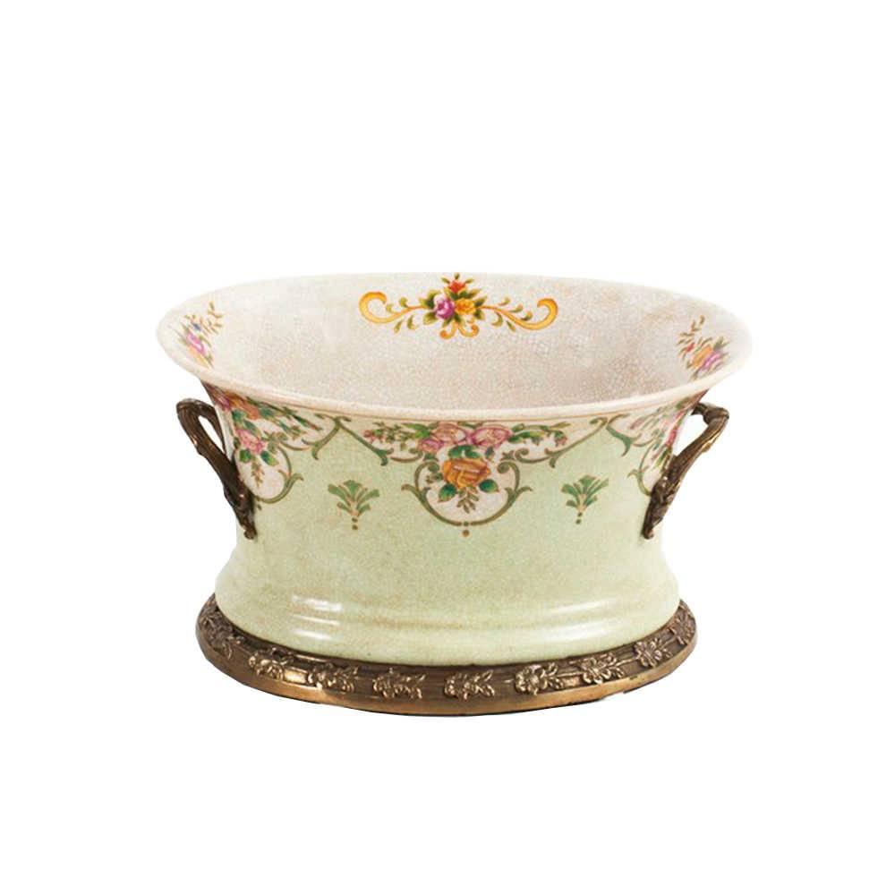Vaso Flores Tradicionais Verde em Porcelana - 22x17 cm