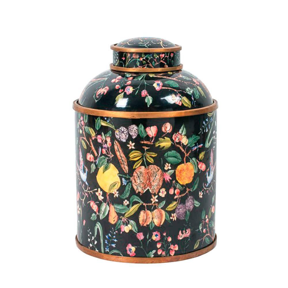 Vaso Florido Grande com Fundo Preto em Porcelana - 33x23 cm