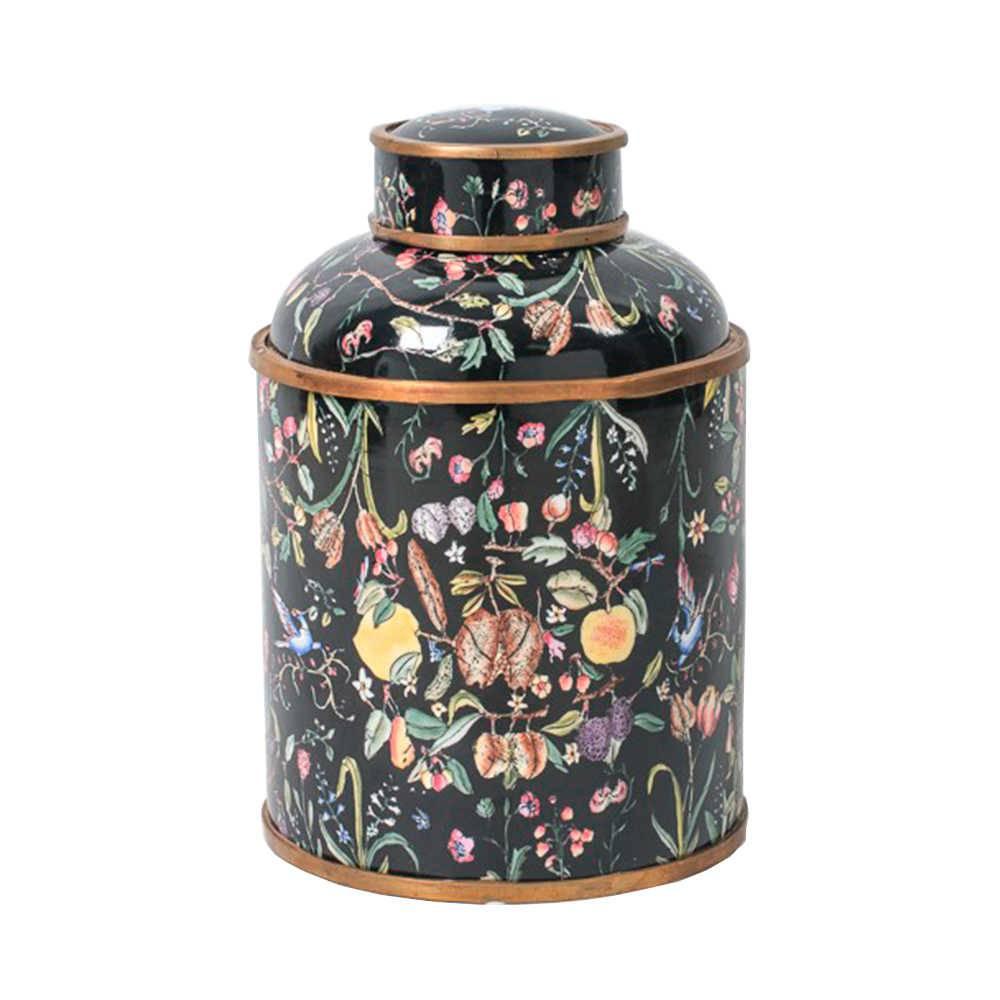Vaso Florido Médio com Fundo Preto em Porcelana - 29x19 cm