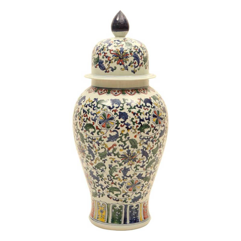 Vaso Folhas Orientais Estampa Colorida Pintada a Mão em Porcelana - 69x28 cm