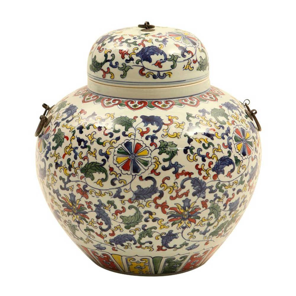Vaso Folhas Orientais Estampa Colorida Pintada a Mão em Porcelana com Alças de Bronze - 40x40 cm