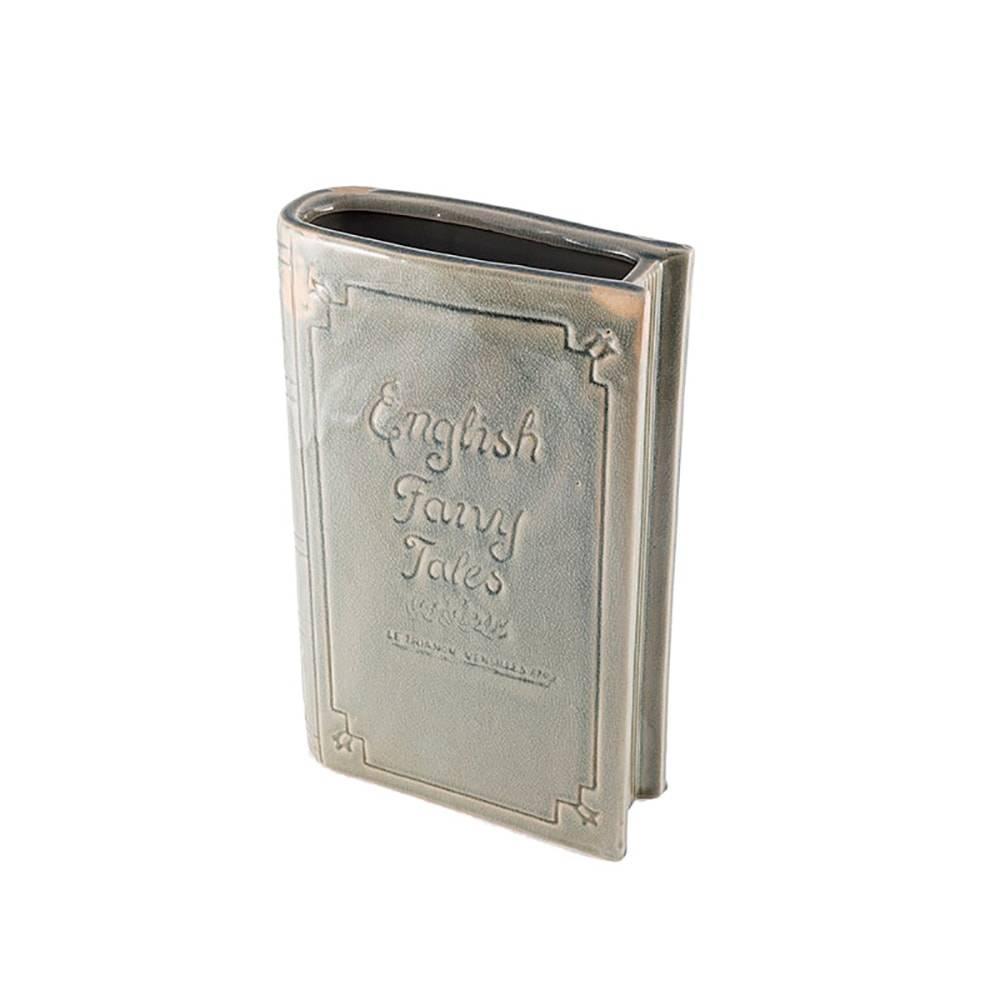 Vaso Formato de Livro Conto de Fadas Cinza em Cerâmica - 28,5x18,5 cm