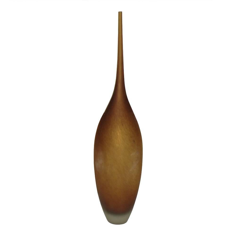 Vaso Garrafa Ambar Médio em Vidro - 56x12 cm