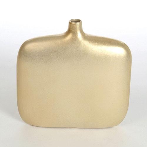 Vaso Garrafa Dourado em Vidro - 19x18 cm