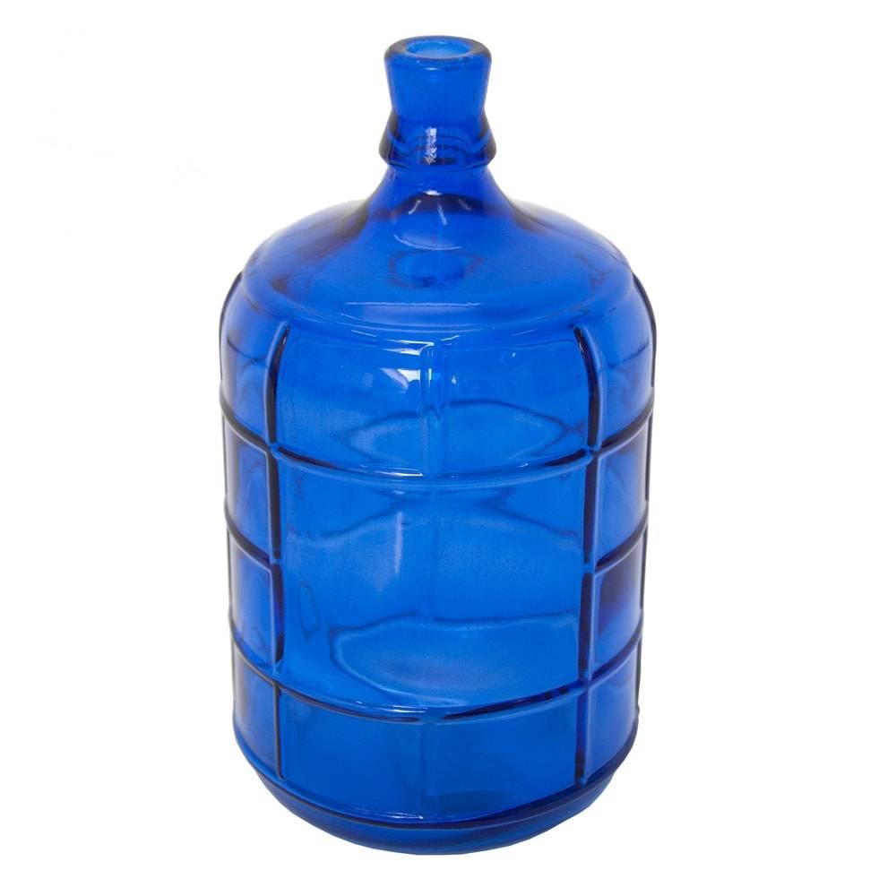 Vaso Garrafa Gallon Azul em Vidro - 27x15 cm