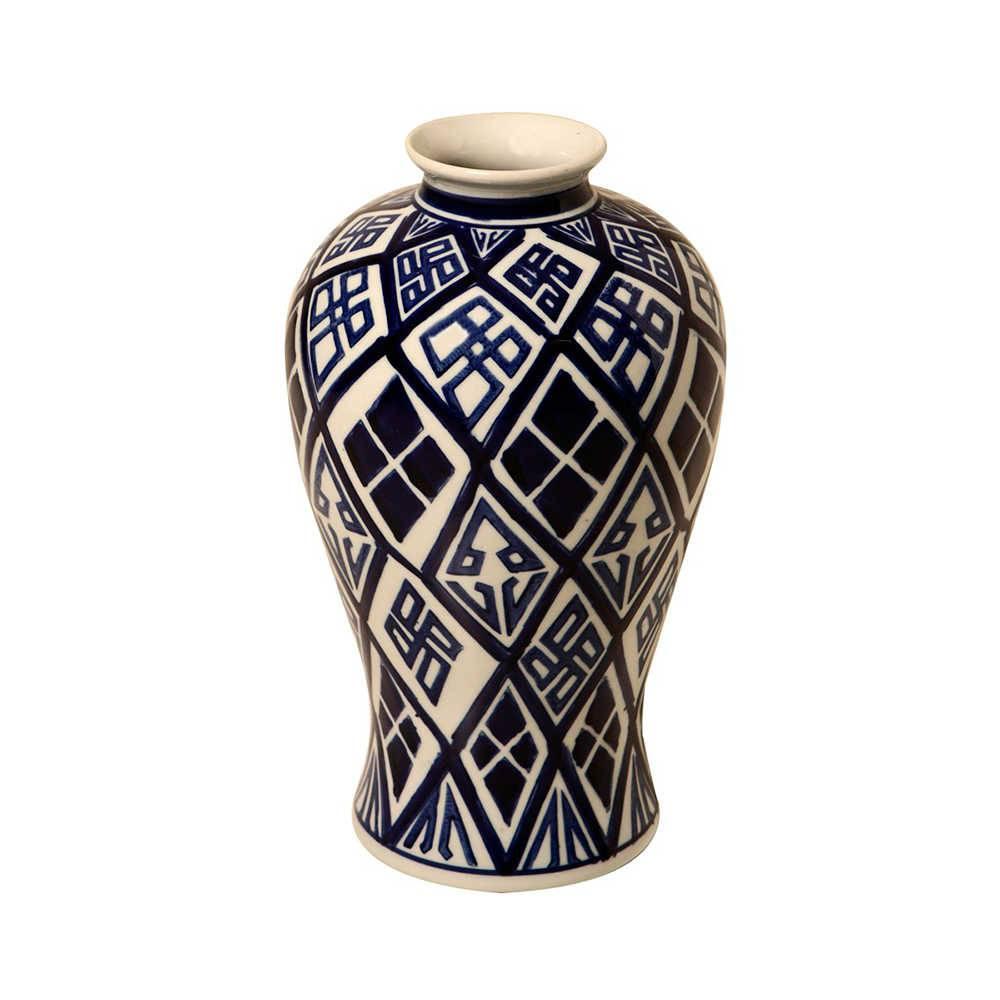 Vaso Geométrico Azul e Branco em Porcelana - 34x21 cm