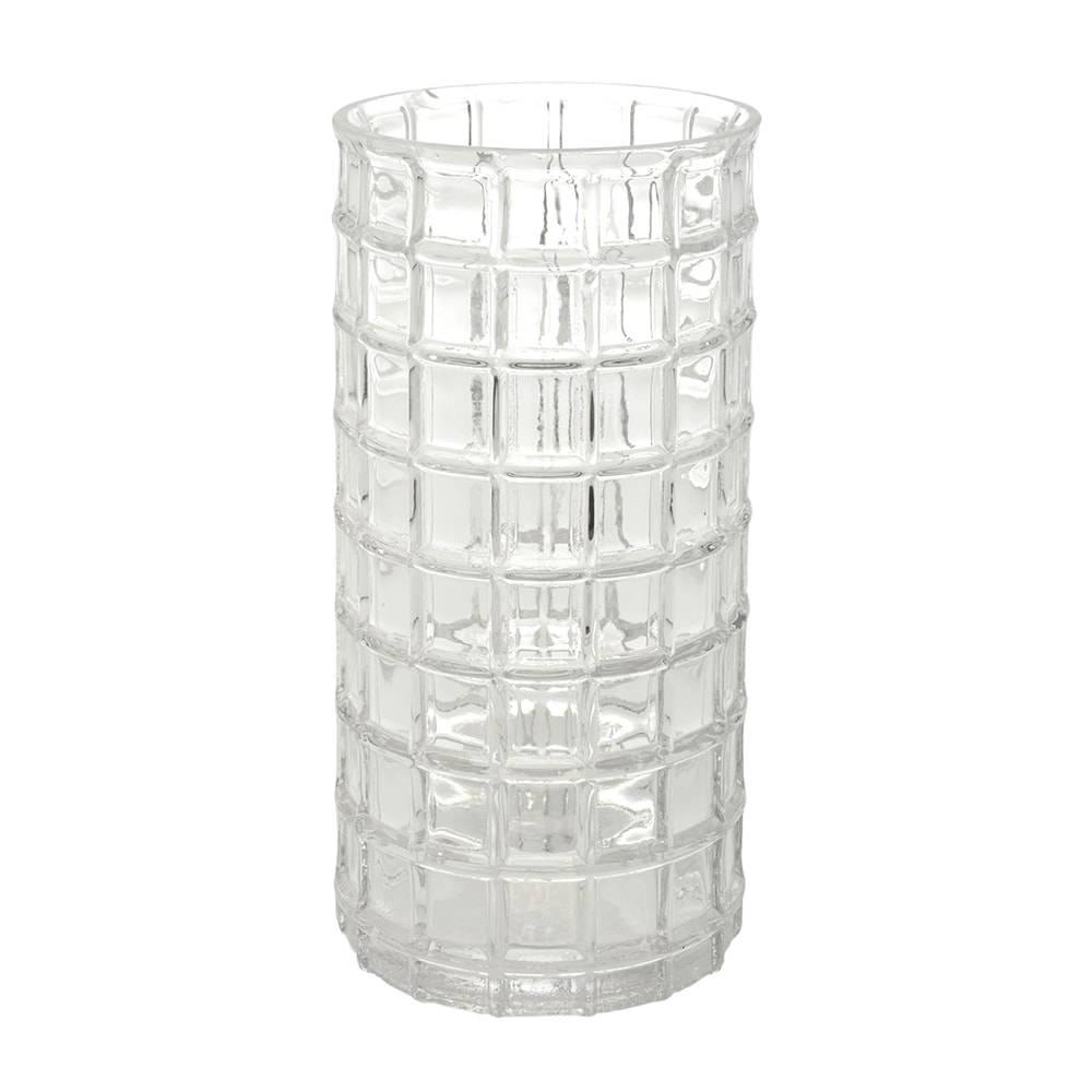 Vaso Geruit Redondo Grande Transparente em Vidro - 25x13 cm