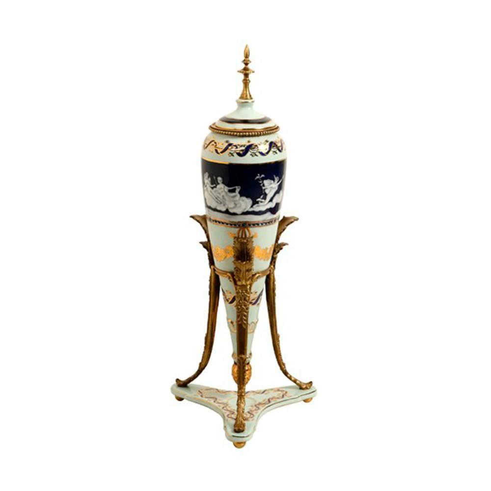Vaso Gold Cone com Tampa em Porcelana - 52x21 cm
