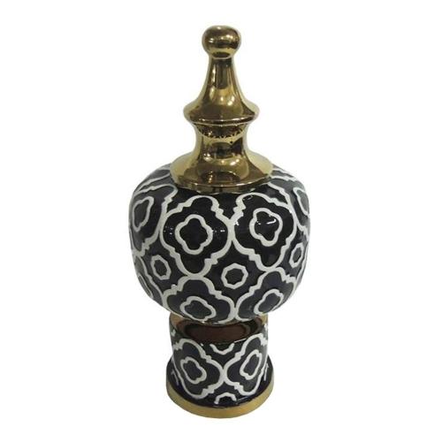 Vaso Gold Edge Baixo em Cerâmica - 42,5x19 cm