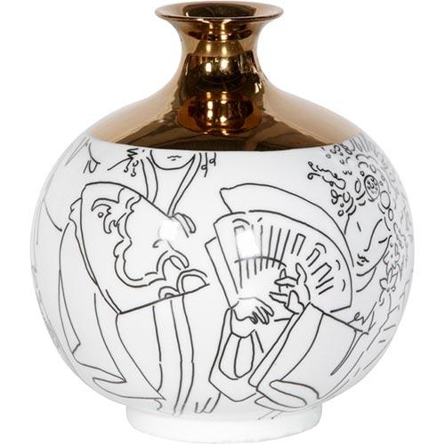 Vaso Gold Figure Branco em Cerâmica - 30x24x24 cm