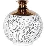 Vaso Gold Figure Branco em Cerâmica