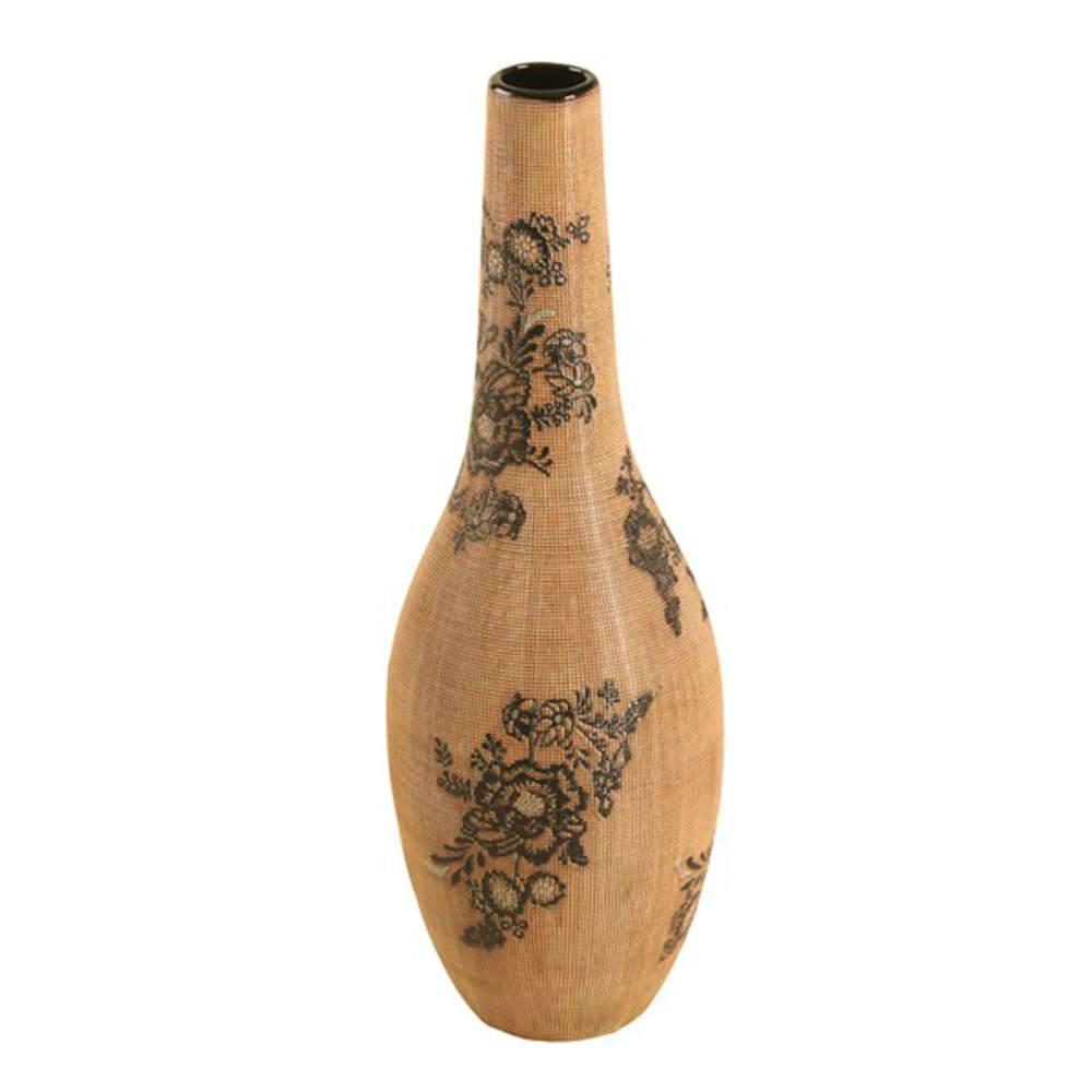 Vaso Gota Bege e Preto com Efeito Rendado Grande em Porcelana - 45x16 cm
