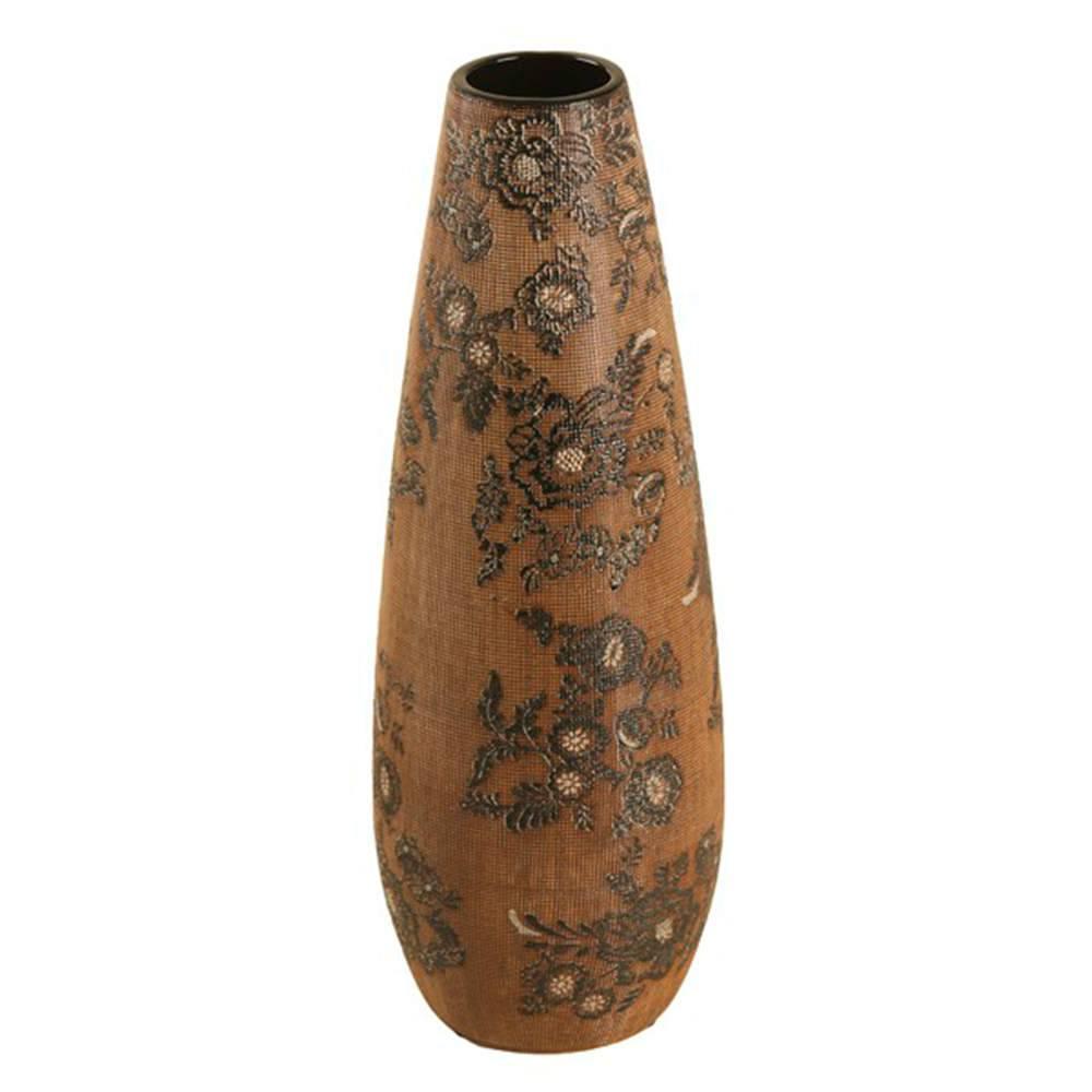 Vaso Gota Marrom e Preto com Efeito Rendado Grande em Porcelana - 43x15 cm