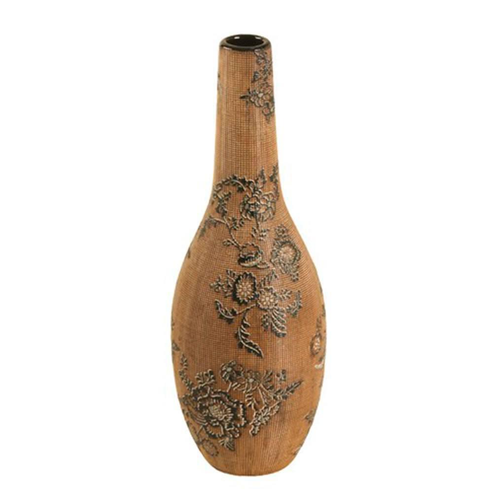 Vaso Gota Marrom e Preto com Efeito Rendado Médio em Porcelana - 35x13 cm
