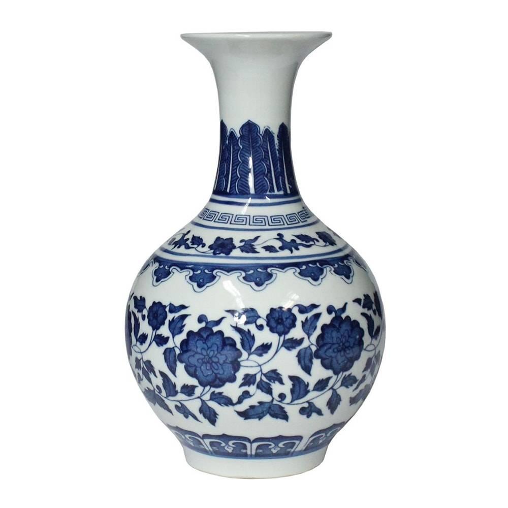 Vaso Huangho Lady Azul/Branco em Porcelana - 23x13,5 cm