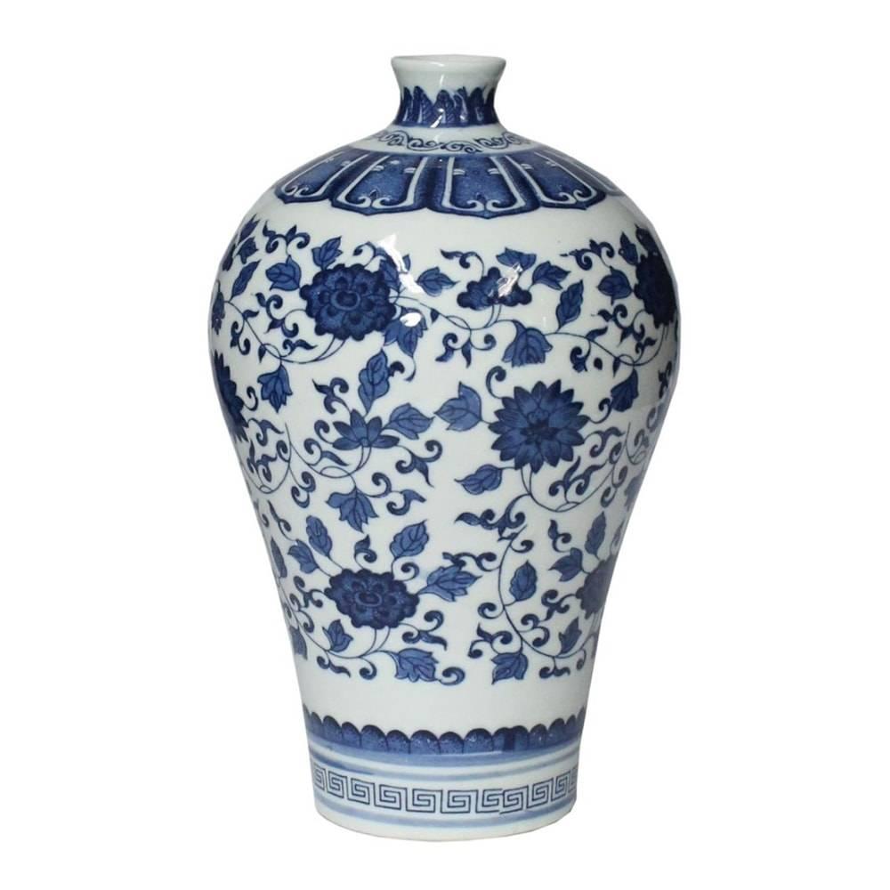 Vaso Huangho Lord Azul/Branco em Porcelana - 21x13 cm
