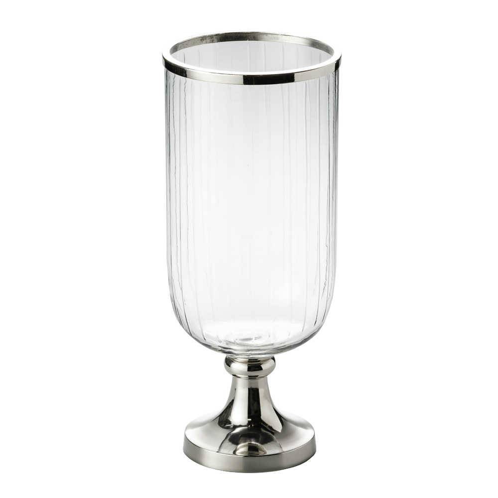 Vaso Hurricane Pedestal em Vidro e Metal - Grande - Lyor Classic - 43 cm