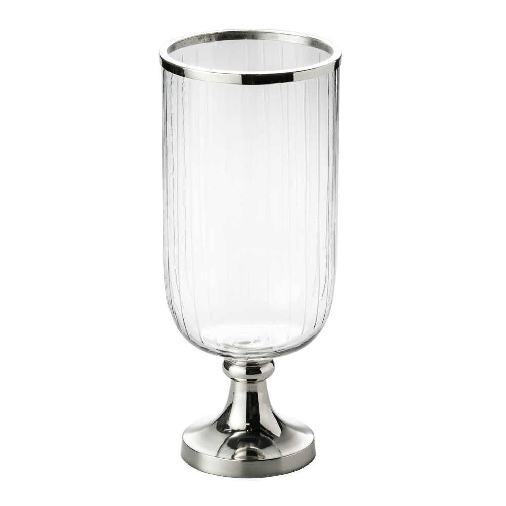 Vaso Hurricane Pedestal em Vidro e Metal - Médio - Lyor Classic - 38 cm