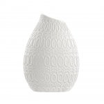 Vaso Isis com Estrutura Detalhada de Círculos Branco em Porcelana - 10x8 cm