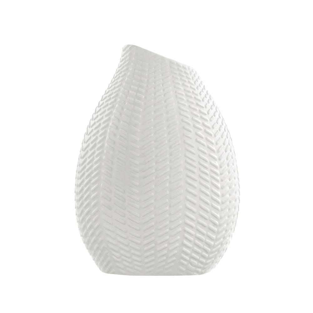 Vaso Isis com Estrutura Detalhada Mini Filetes Branco em Porcelana - 10x8 cm