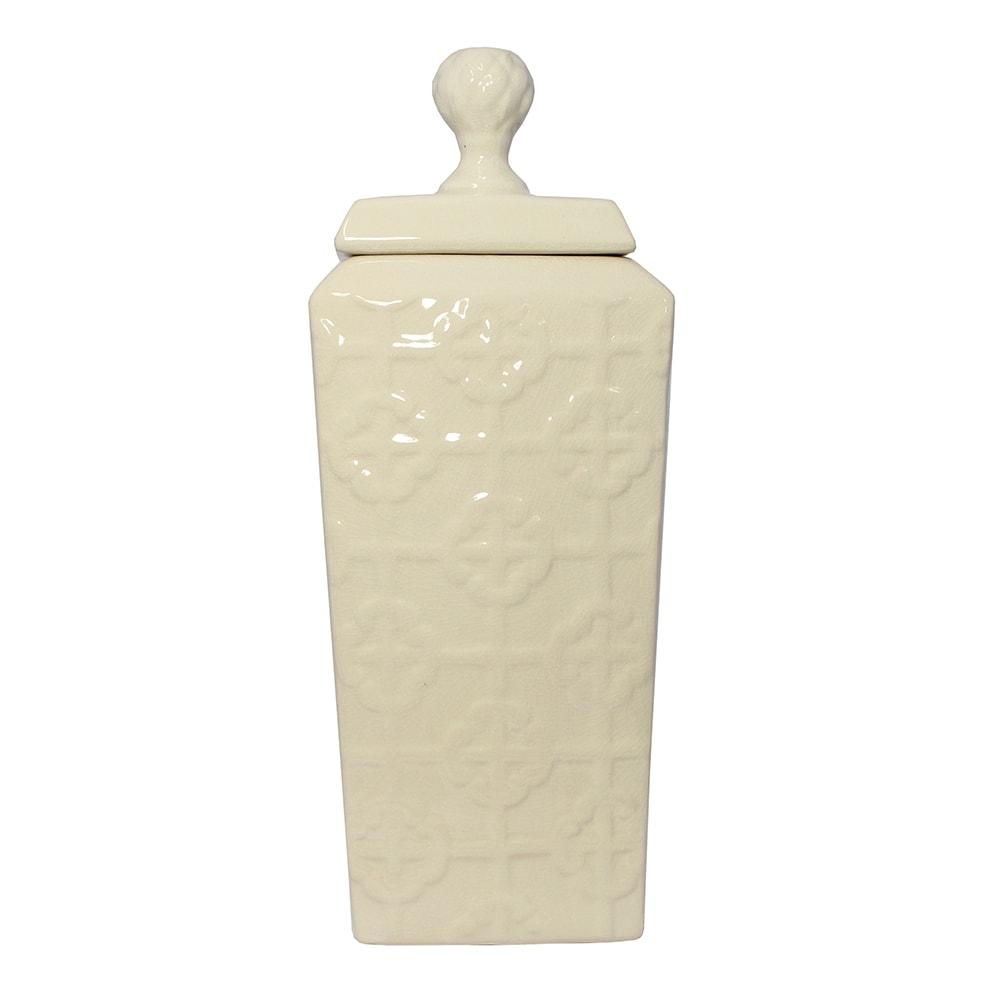 Vaso Ivory Bound Grande Bege em Cerâmica - 41x16,5 cm