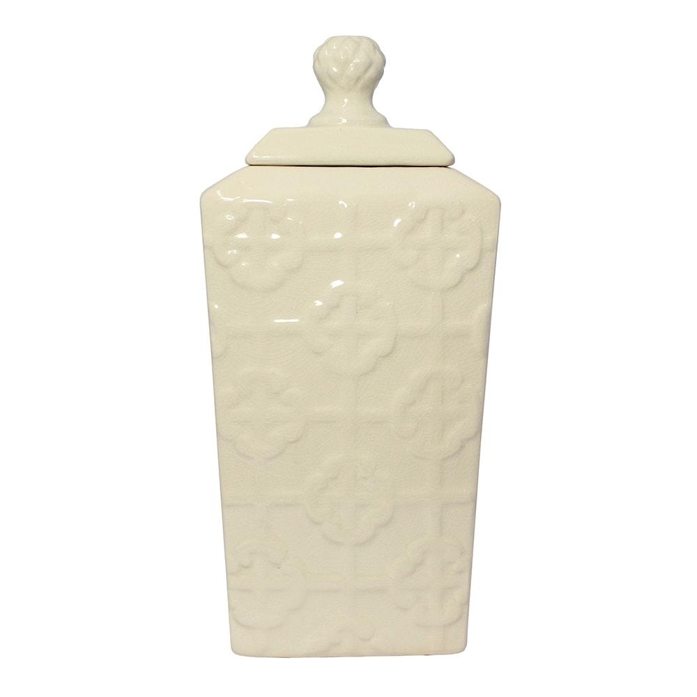 Vaso Ivory Bound Médio Bege em Cerâmica - 34x16 cm