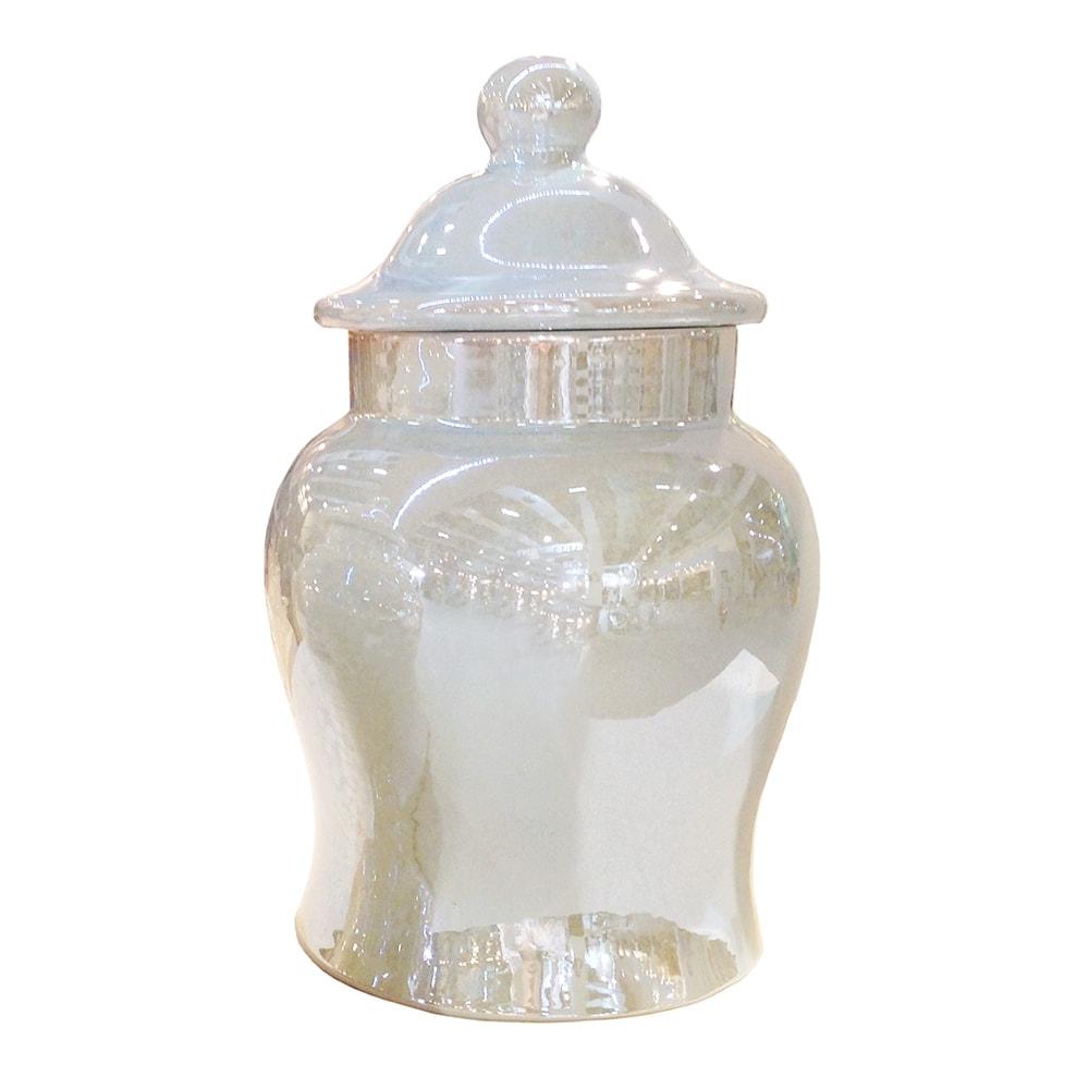 Vaso Ivory Teran Médio Pérola em Cerâmica - 27x18,5 cm