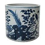Vaso Jinhan Azul/Branco em Cerâmica - 20x20 cm
