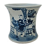 Vaso Kowloon Azul/Branco em Cerâmica - 22x22 cm