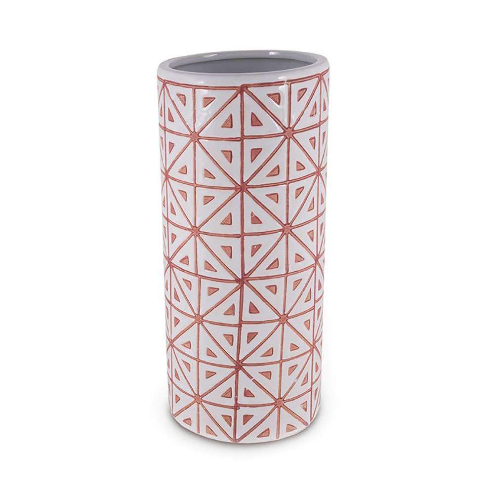 Vaso Ladrilhos Branco e Laranja em Cerâmica - 31x14 cm