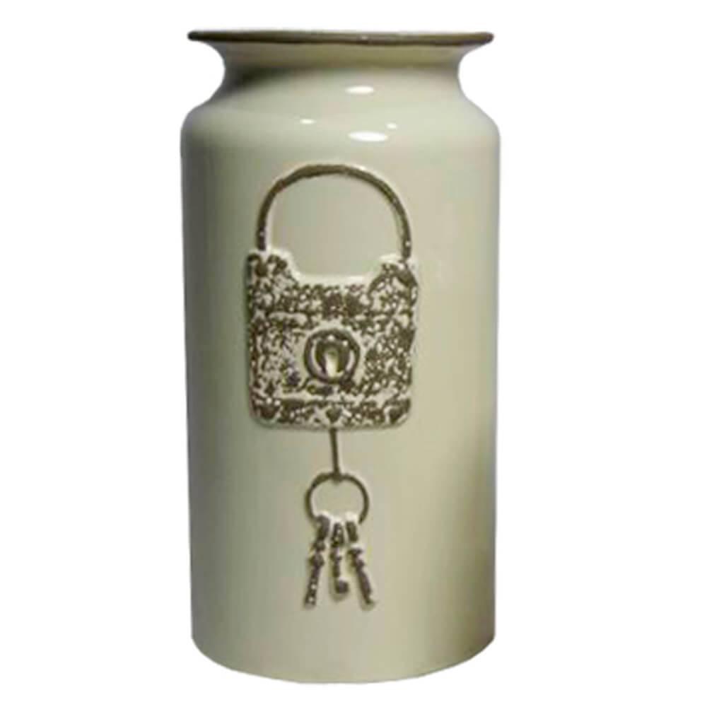 Vaso Le Cle Lock Grande Creme em Cerâmica - Urban - 30,5x15,5 cm