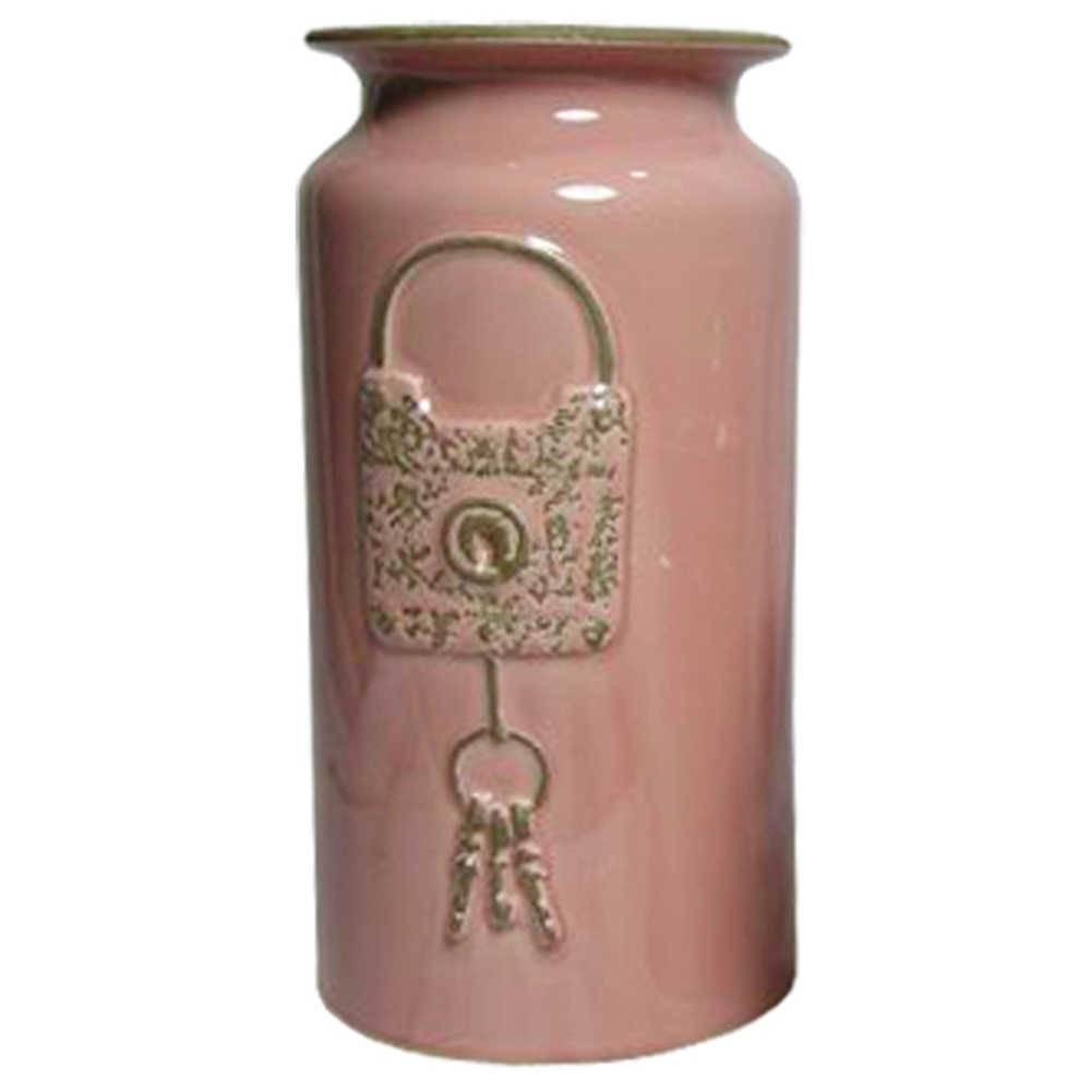 Vaso Le Cle Lock Grande Rosa em Cerâmica - Urban - 30,5x15,5 cm
