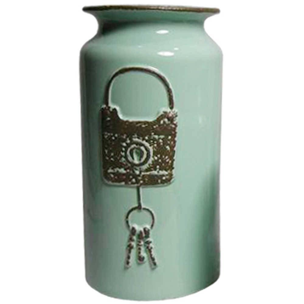 Vaso Le Cle Lock Grande Verde em Cerâmica - Urban - 30,5x15,5 cm