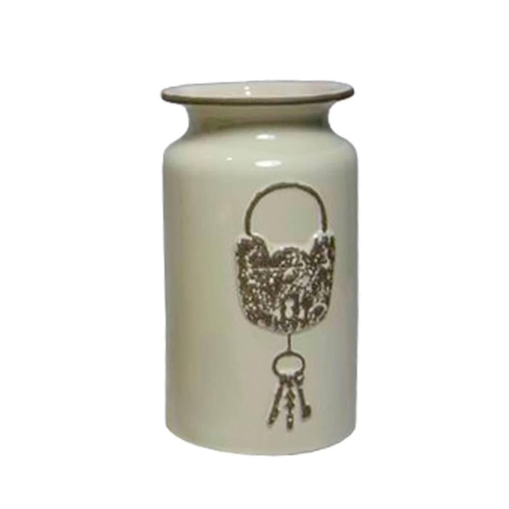 Vaso Le Cle Lock Médio Creme em Cerâmica - Urban - 22,5x12,5 cm
