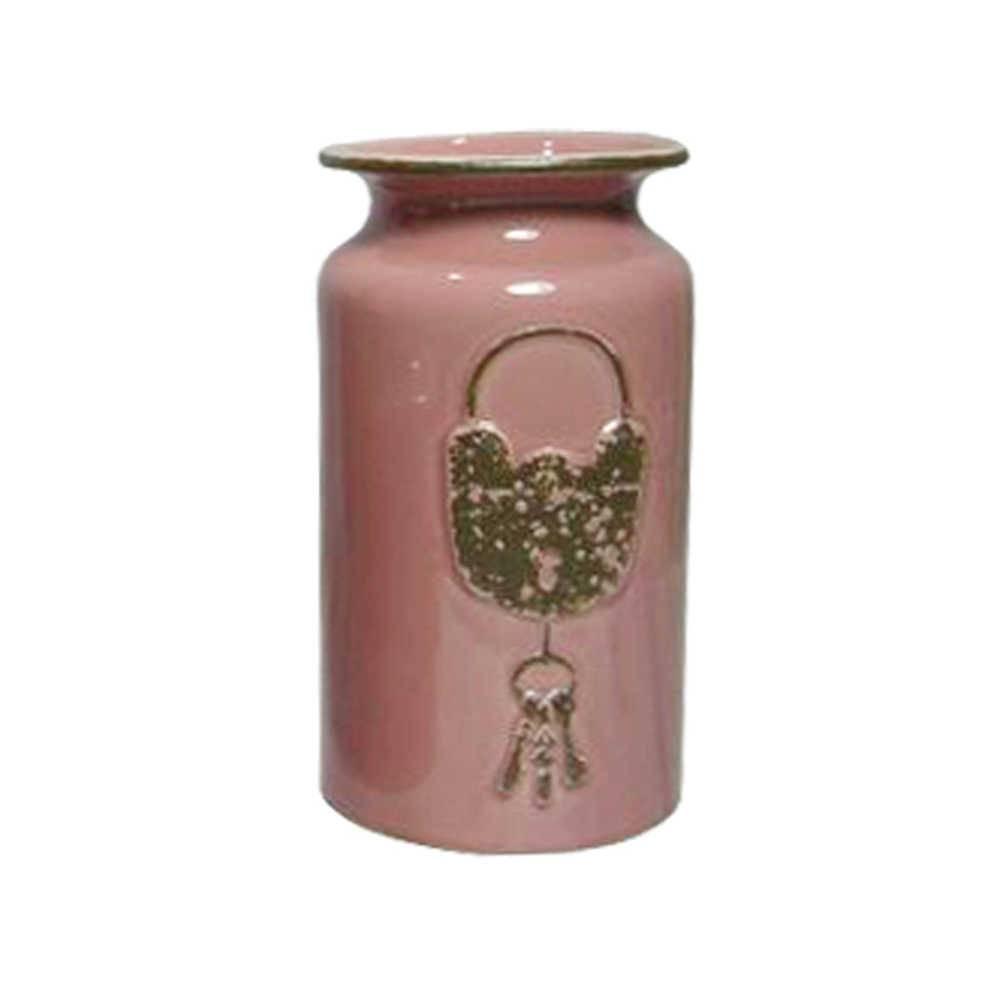 Vaso Le Cle Lock Médio Rosa em Cerâmica - Urban - 22,5x12,5 cm