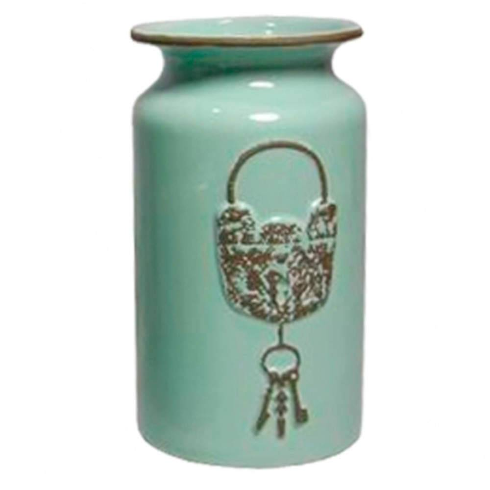 Vaso Le Cle Lock Médio Verde em Cerâmica - Urban - 22,5x12,5 cm