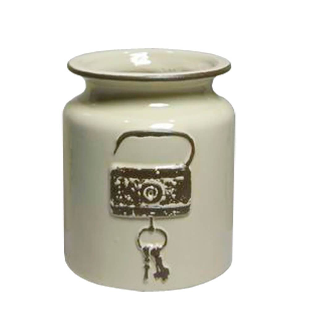 Vaso Le Cle Lock Pequeno Creme em Cerâmica - Urban - 18x15 cm