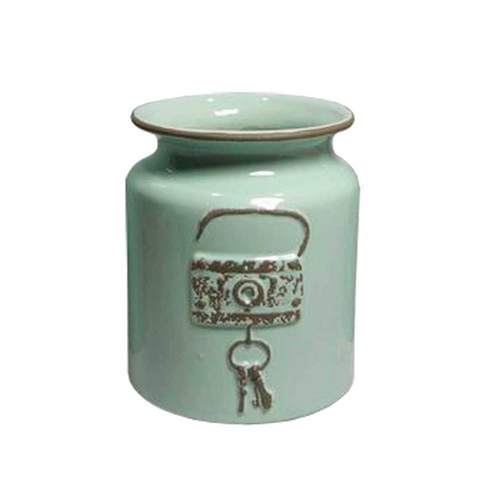 Vaso Le Cle Lock Pequeno Verde em Cerâmica - Urban - 18x15 cm