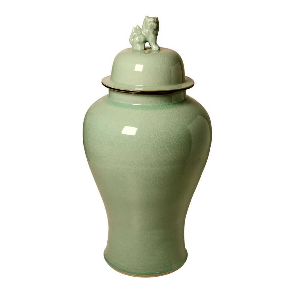 Vaso Leão Verde Claro em Porcelana - 86x39 cm