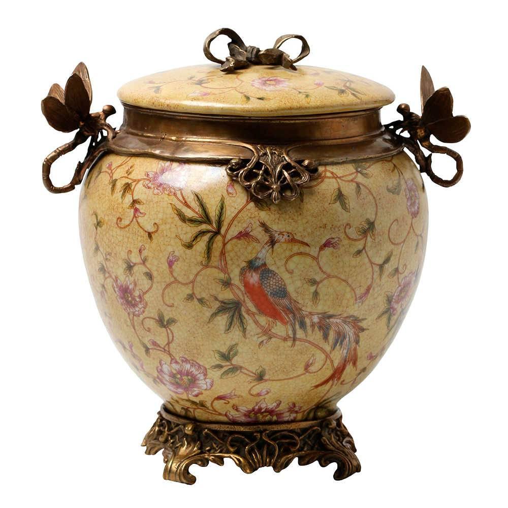 Vaso Libélula Redondo com Fundo Amarelo em Porcelana - 21x20 cm