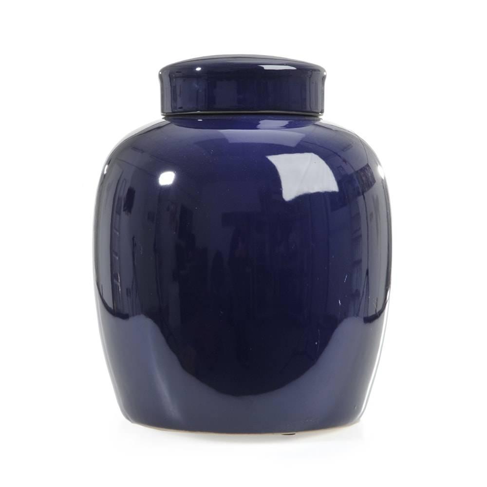 Vaso Lid Pequeno Azul e Cerâmica - 26x21 cm