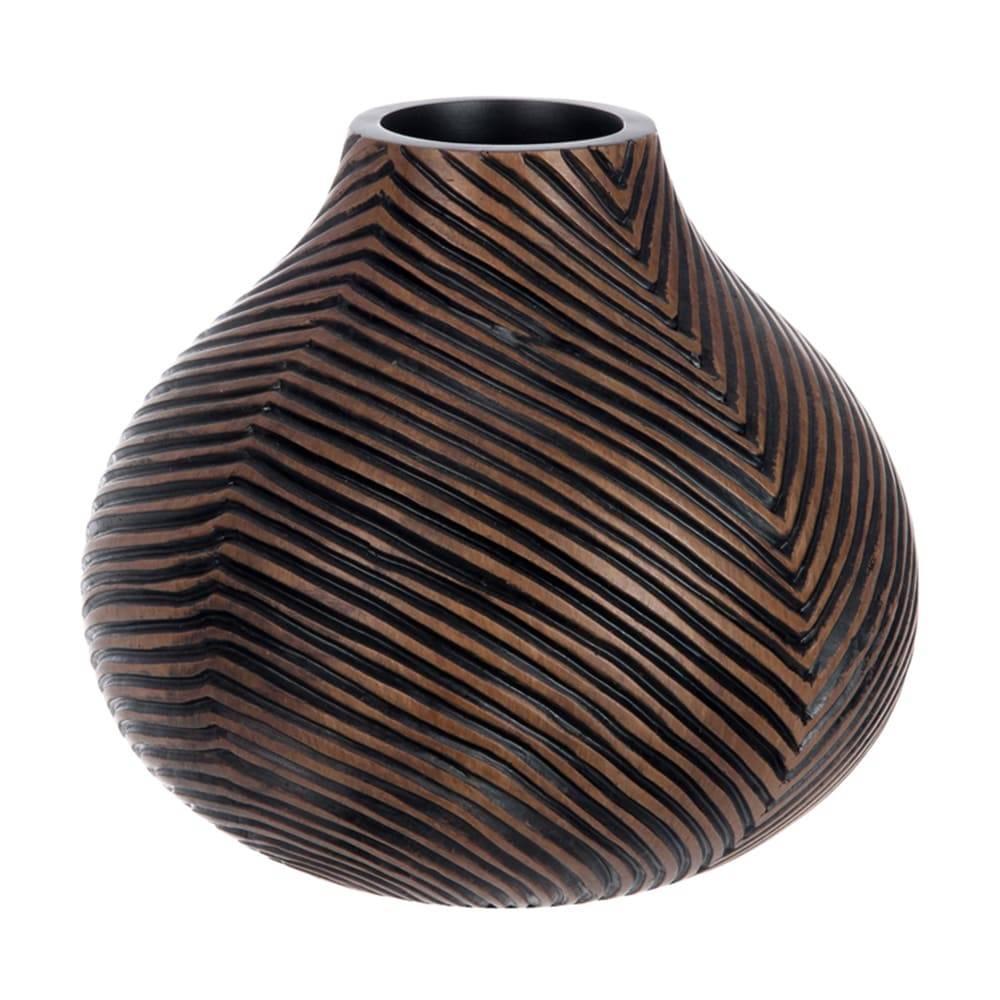 Vaso Lines Marrom Escuro em Cerâmica - 22x19,5 cm