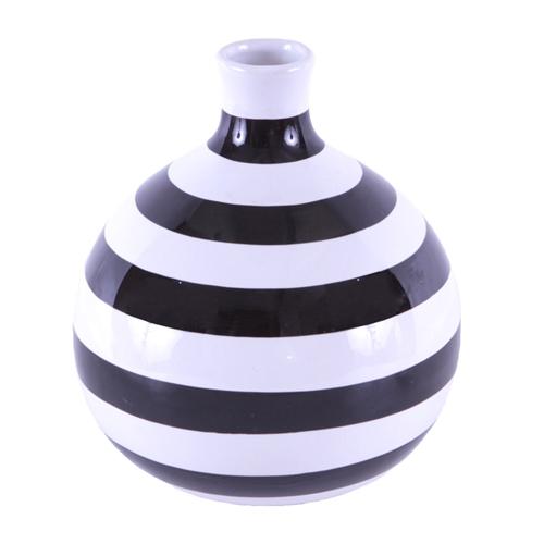Vaso Listrado Black And White em Cerâmica - 22x20 cm