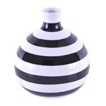 Vaso Listrado Black And White em Cerâmica