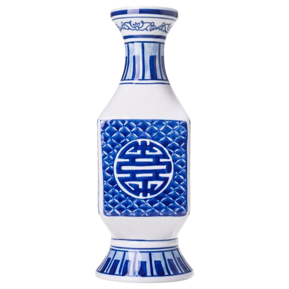 Vaso Longilíneo com Estampa Azulejo Português Azul/Branco Grande em Porcelana - 30x10 cm