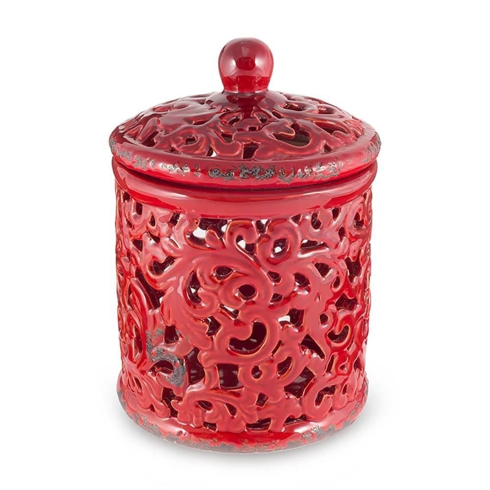 Vaso Lover Vermelho Vazado em Cerâmica - 22x16 cm